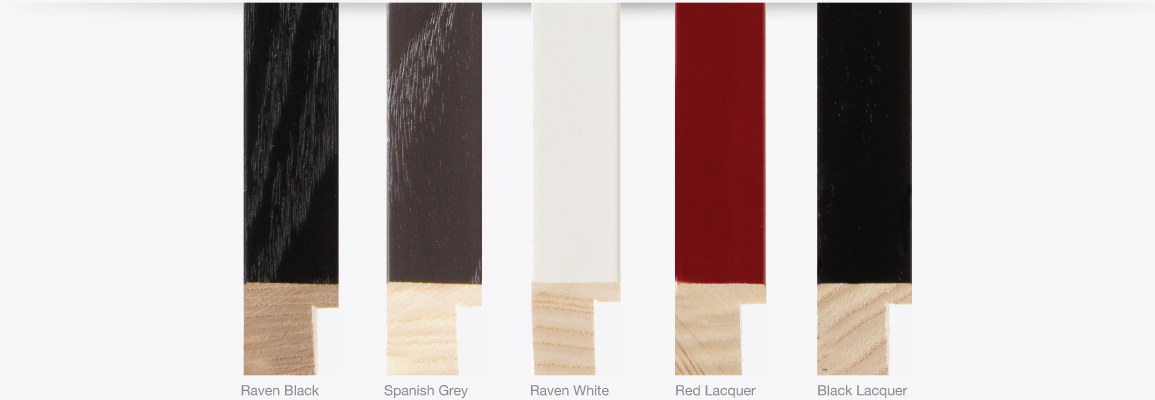 Ramino Finishes, Raven Black, Spannish Grey, Raven White, Red Lacquer, Black Lacquer