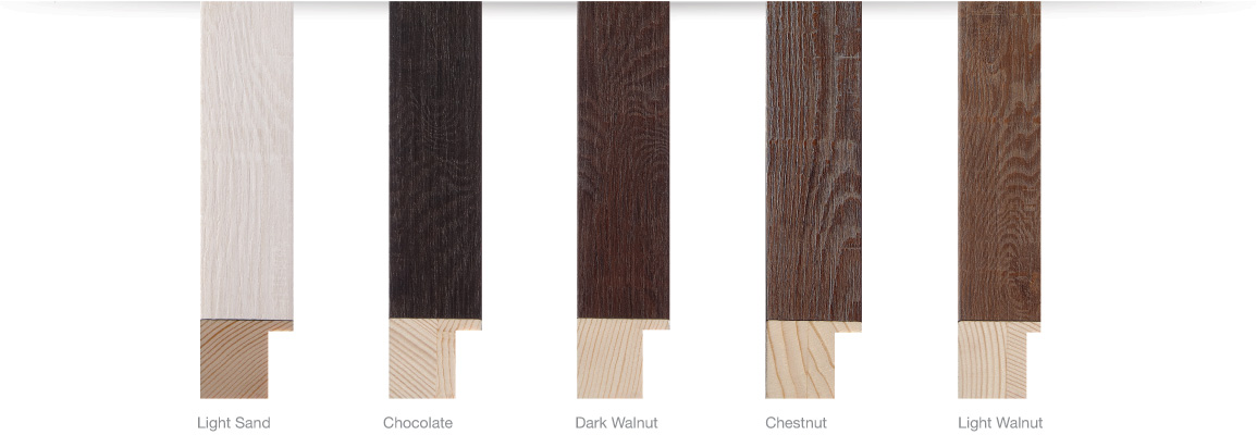 Arber Finishes, Light Sand, Chocolate, Dark Walnut, Chestnut, Light Walnut