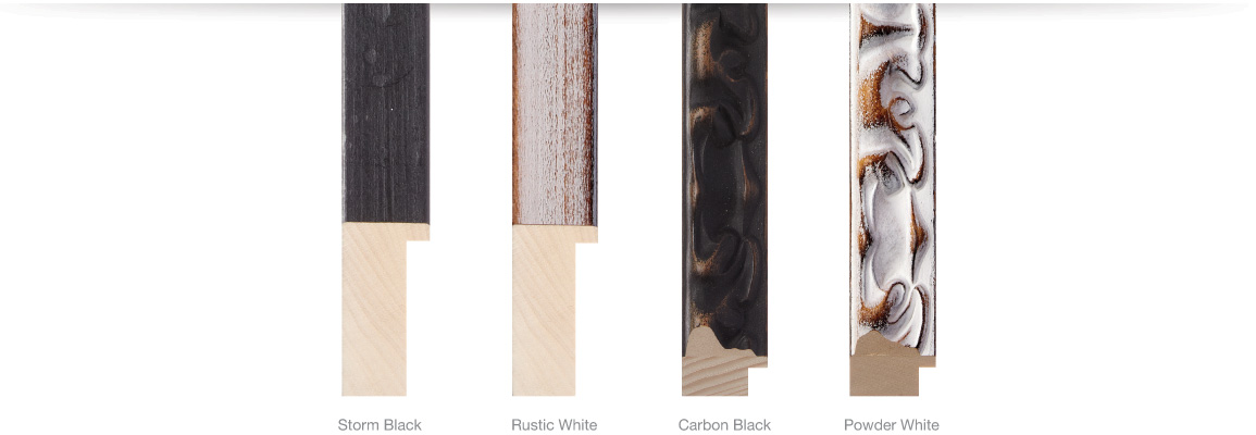 Country Collection Finishes, Storm Black, Rustic White, Carbon Black, Powder White