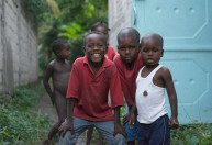 Haitian children at the HATS home base in Deschappelles.