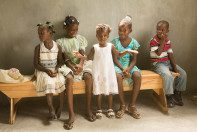 Haitian children getting ready for church.